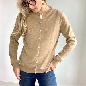 Brooks Brothers Tan Merino Wool Cardigan Sweater L